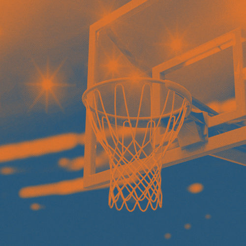 orange and blue basketball graphic