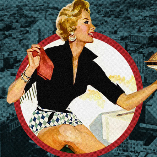 Vintage graphic with woman and gold dome