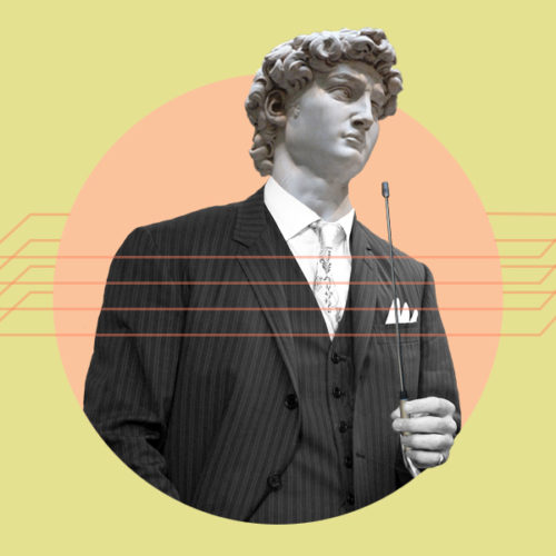 Collage Style Graphic with Statue in Suit
